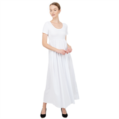 High Waist Short Sleeve Maxi Dress