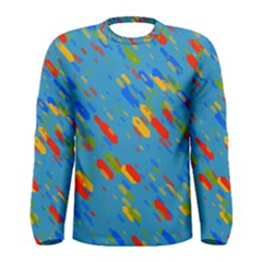 Colorful Shapes On A Blue Background Men  Long Sleeve T-shirt by LalyLauraFLM