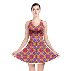 Multicolored Abstract Print Reversible Skater Dress by dflcprintsclothing