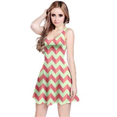 Mint Pink Modern Retro Chevron Patchwork Pattern Sleeveless Dress by creativemom