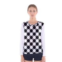 Black And White Polka Dots Women s Long Sleeve T-shirt
