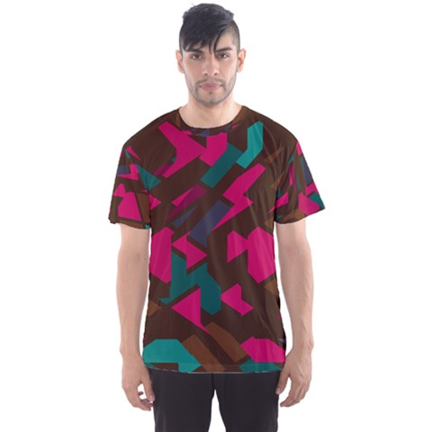 Brown Pink Blue Shapes Men s Sport Mesh Tee by LalyLauraFLM