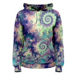Violet Teal Sea Shells, Abstract Underwater Forest (purple Sea Horse, Abstract Ocean Waves  Women s Pullover Hoodie