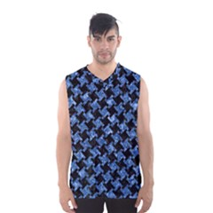 Houndstooth2 Black Marble & Blue Marble Men s Basketball Tank Top by trendistuff