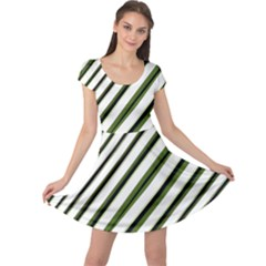 Diagonal Stripes Cap Sleeve Dresses by dflcprintsclothing