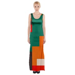 Rectangles And Squares  In Retro Colors                                                                   Maxi Thigh Split Dress by LalyLauraFLM