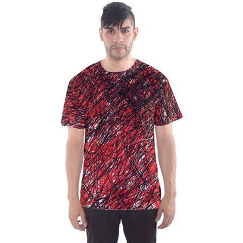 Red And Black Pattern Men s Sport Mesh Tee by Valentinaart