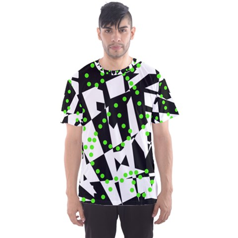 Black, White And Green Chaos Men s Sport Mesh Tee by Valentinaart