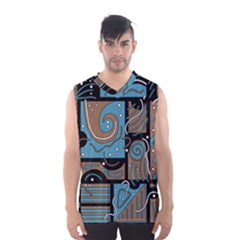 Blue And Brown Abstraction Men s Basketball Tank Top by Valentinaart