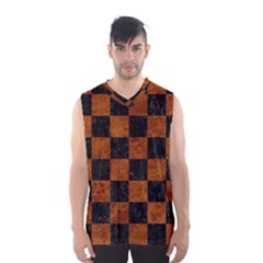 Square1 Black Marble & Brown Marble Men s Basketball Tank Top by trendistuff
