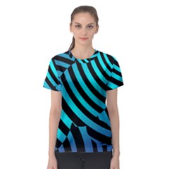 Turtle Swimming Black Blue Sea Women s Sport Mesh Tee