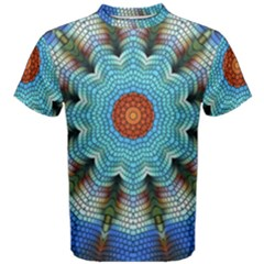 Pattern Blue Brown Background Men s Cotton Tee