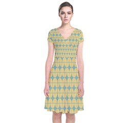 Green Yellow Short Sleeve Front Wrap Dress