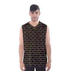 Brick1 Black Marble & Yellow Marble Men s Basketball Tank Top by trendistuff