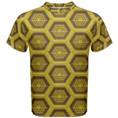 Golden 3d Hexagon Background Men s Cotton Tee