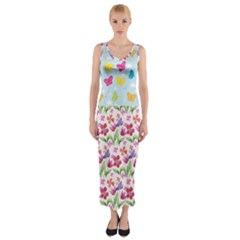 Watercolor Flowers And Butterflies Pattern Fitted Maxi Dress by TastefulDesigns