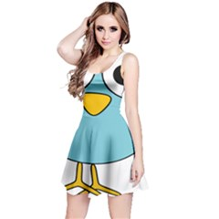 Bird Big Eyes Blue Reversible Sleeveless Dress