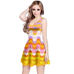 Dna Early Childhood Wave Chevron Rainbow Color Reversible Sleeveless Dress