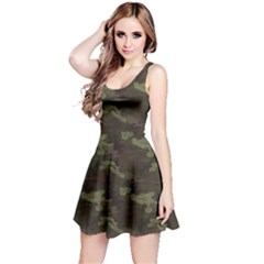 Green Camouflage Pattern Reversible Sleeveless Dress