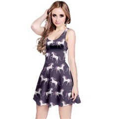 Cowcow Womens Navy Blue Unicorn Seamless Sleeveless Skater Dress