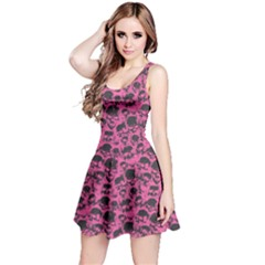 Pink Grunge Pattern With Skulls Illustration Sleeveless Skater Dress by CoolDesigns