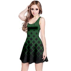 Dark Green Gradient With Black Rhombuses Sleeveless Skater Dress