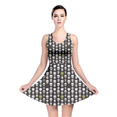 Black Alien Head Reversible Skater Dress by CoolDesigns