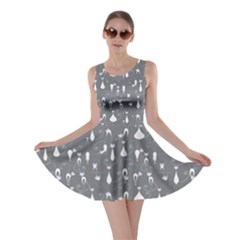 Grey Cats On Black Pattern For Your Design Skater Dress  by CoolDesigns