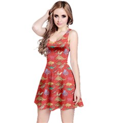 Red Dinosaur Stylish Pattern Skater Dress by CoolDesigns