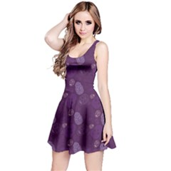 Purple Skulls Pattern Sleeveless Dress by CoolDesigns