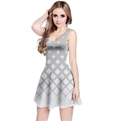 White & Gray Gradient With Black Rhombuses Sleeveless Skater Dress