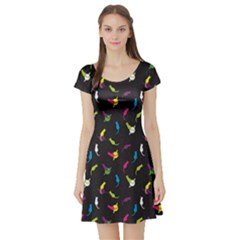 Colorful Space With Cats Saturn And Stars Short Sleeve Skater Dress by CoolDesigns