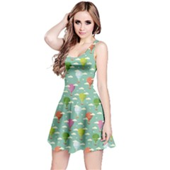 Green Retro Travel Pattern Of Balloons Sleeveless Dress by CoolDesigns