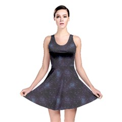 Blue Pattern Constellations Of Hearts On Night Reversible Skater Dress