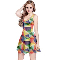 Colorful Triangle Pattern Geometric Abstract Texture Reversible Sleeveless Dress