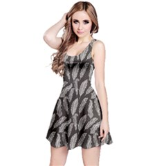 Gray Elegant Decorative Feathers Design Chalkboard Reversible Sleeveless Dress