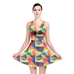 Colorful Triangle Pattern Geometric Abstract Texture Reversible Skater Dress by CoolDesigns
