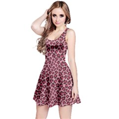 Purple Pink Leopard Texture Pattern Sleeveless Dress