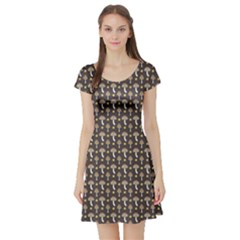 Dark Of Pattern With Abstract Mushrooms And Leaves Short Sleeve Skater Dress by CoolDesigns