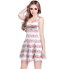 Pink Music Heart Note Sound Love With Shadow Valentine Sleeveless Skater Dress