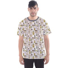 Gray Pattern With Urban Landscape Men s Sport Mesh Tee by CoolDesigns