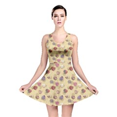 Colorful Pattern With Cute Cartoon Round Farm Animals Reversible Skater Dress by CoolDesigns
