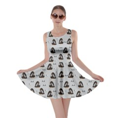 Dark Pattern Little Cute Penguins On Blue Skater Dress by CoolDesigns