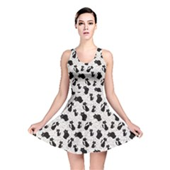 Gray Cartoon Cats Black Silhouettes With White Reversible Skater Dress by CoolDesigns