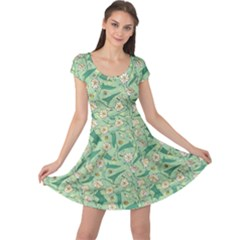 Green Floral Pattern With Bellflower And Bees Cap Sleeve Dress by CoolDesigns