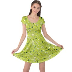 Green Microbes And Bacteria In Petri Dish Pattern Cap Sleeve Dress by CoolDesigns