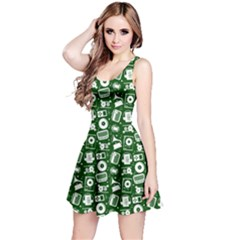 Dark Green Radio Cd Player Music Pattern Sleeveless Dress by CoolDesigns