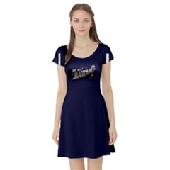 Navy Hawaii Short Sleeve Skater Dress by CoolDesigns