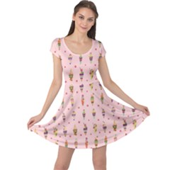 Pink Ice Cream Pattern Cap Sleeve Dress by CoolDesigns