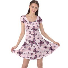 Pink Pattern Colorful Butterflies Cap Sleeve Dress by CoolDesigns